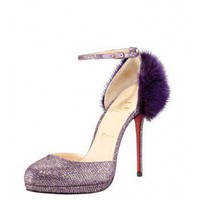 Christian Louboutin Crazy Fur Glitter Pump