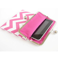 Pink Chevron iPad Case or Sleeve with Kisslock Frame - iPad Case or Clutch - Notebook Clutch - Hot Pink Chevron Print