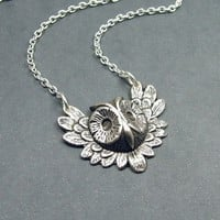 Feathered Owl Necklace in Antique Silver by RoseAndRaven on Etsy