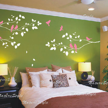 Three Branches with Flying Birds -Vinyl Wall Decal, Sticker