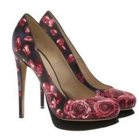 Nicholas Kirkwood Rose printed satin platform court shoes