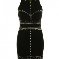 LOVE Black Studded Bodycon Dress - Love
