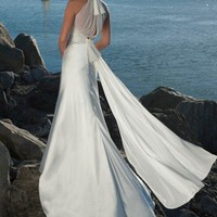 Wholesale Beach Halter Floor-length White Chiffon&Satin Wedding Dress Style AD3397  ,for $175.99 only in VikiDress.com.