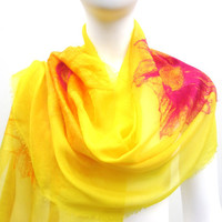 Textile Art Silk Wrap Nuno Felt Sunshine Yellow Summer Shawl Stole