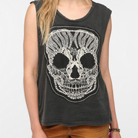 Truly Madly Deeply Lace Skull Muscle Tee