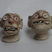 Zombies stoneware high fired hand sculpted salt and pepper shaker set