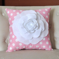 Rose Pillow White on Pink with White Polka Dot Pillow 14x14 Flower Pillow