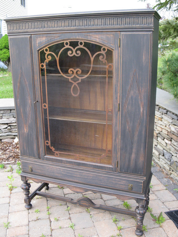 chic and shabby black china cabinet from vintagerebornlaura on. Black Bedroom Furniture Sets. Home Design Ideas