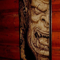 World of Warcraft - ORC woodburned home decoration
