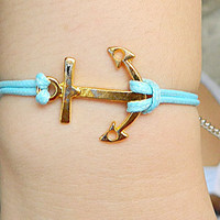 Golden  Ancho Fashion buckle Adjustable hipster jewelry leather bracelet with wooden bead and hollowed tube Wristband Mens Womens Z12