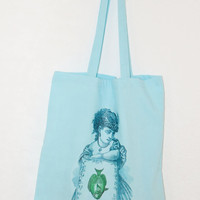 Cotton tote. Blue lady with green fish image on mint green cotton bag. Fun and cute image, holds lots, durable.