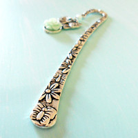 DAINTY ESCAPE Shabby Chic Butterfly Mint Rose Bookmark in Antique Silver with Lucite Cabochon & Acrylic Pearl from the Vintage Garden