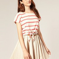 River Island | River Island Stripe Crop T-Shirt With Tie Front at ASOS