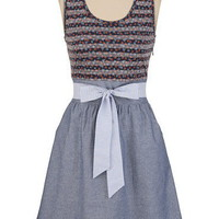 Chambray with Floral Stripe Dress