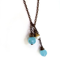 Ocean Blue Mermaid Orbs Necklace