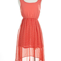 Horseshoe Print High-Low Tank Dress with Cutout Back