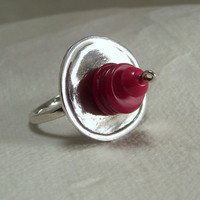 Handmade Abstract Pure Silver and Red Coral Ring, Sz 8