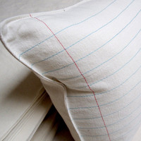 lined paper pillow cover