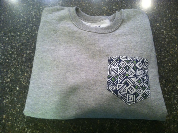 Grey Crew Cut Sweatshirt with Blue and Green Aztec Pocket