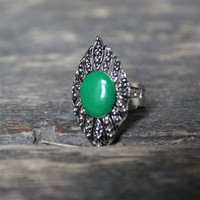 Green Stone Diamond Shaped Ring