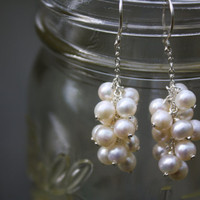 Ivory Freshwater Pearl Cluster Earrings on Argentium Silver