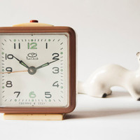 Russian mechanical alarm clock, cappuccino color clock, Soviet Era