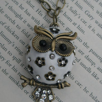 Owl necklace- White owl necklace- Painted owl- Large owl necklace- Antique brass owl- Owl and crystal necklace