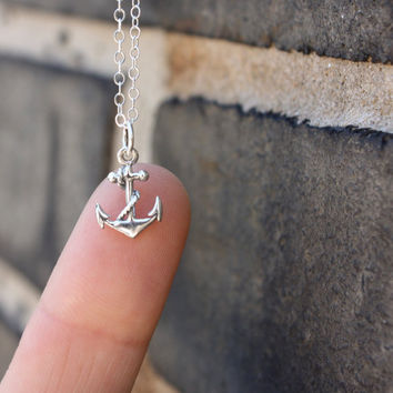 Anchor necklace - nautical jewelry . sterling silver anchor charm . sterling silver chain . simple, minimal charm jewelry