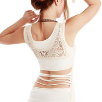 White Women top with upper back Crochet/lace detail