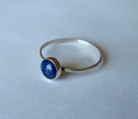 Sterling silver and blue lapis lazuli stacking by heidihardwear