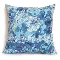 Blue Tones Floral Pattern 16 Inches Square Pillow