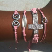 Perfectly Pink Set of 4 Stacking Arm Candy Bracelets Sideways Rhinestone Cross Set
