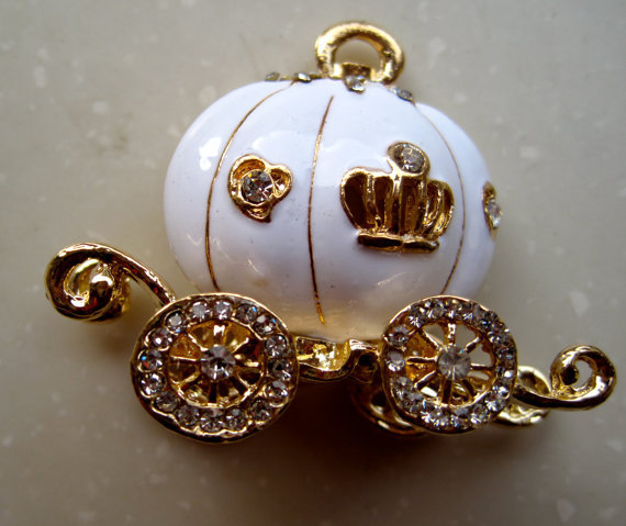 White Cinderella Fantasy Fairytale Swarovski Crystal Pumpkin Carriage Charm Necklace SALE handmade Wedding