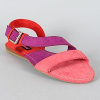 Dollhouse Hink Colorblock Open Toe Flat Sandal