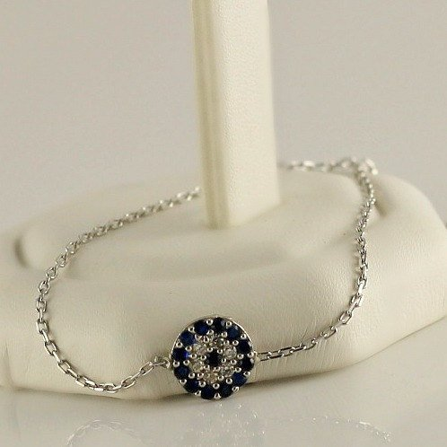 Evil Eye Bracelet, Sterling Silver CZ cubic Zirconia Bracelet, Fashion Jewelry, Lucky Charm Gift For Her, Celebrity Bracelet