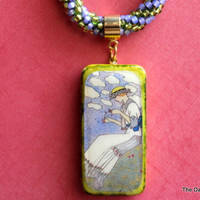 Maiden in SpringTime Altered Art Domino Necklace