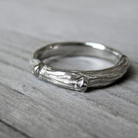 Twig Wedding Band, 3mm White Gold