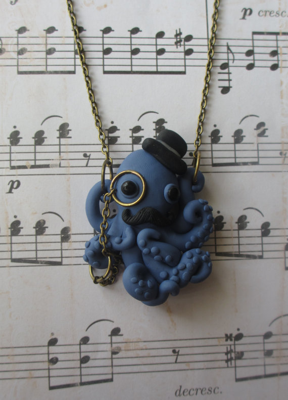 Dapper Octopus necklace - Blue