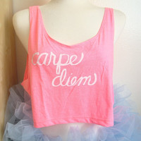 Loose Crop Top. Carpe Diem in Neon Pink/One Size