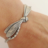 Steampunk Dragonfly Bracelet- Antique Silver Ox Finish