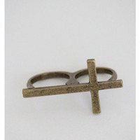 Gold Cross Double Ring