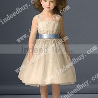 Wholesale A-Line Square Tea Length Gown with Tulle and Satin Flower Girl Dresses 46231 ,for $127.00 only in IndeedBuyer.com.  - IndeedBuy