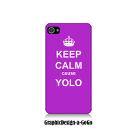 Iphone 4 case, Iphone 4s , Keep Calm cause Yolo Purple, custom cell phone case, Original design