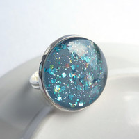 Blue Glitter Adjustable Ring with Hexagon Glitter