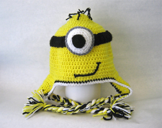 Despicable Me Minion Inspired Hat With Ear Flaps - Teen/Adult Small - READY TO SHIP