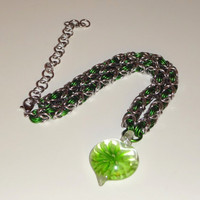 Green Glass Heart Pendant Chainmaille Choker Necklace