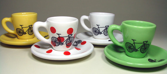 Tour de France. Espresso cups w/saucers, set of 4. Made to Order.