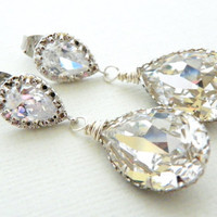 Clear Swarovski Drop Briolette Crystal Earrings on Sterling Silver Post with Cubic Zirconia Bridal Bridesmaid Wedding Gift by Estylo Glamour