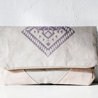 Geometrical Illusion Printed  Leather Pouch  lavender ipad case No. ZPB-102