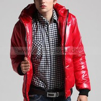 Mens Casual Red Polyester Hoody Coat XS/S/M/L/XL @M05R - Mens Outerwear - Men  - ClothingTalks Online Shopping
